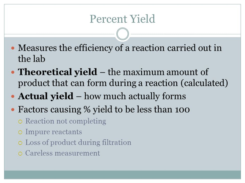 Percent Yield Measures the efficiency of a reaction carried out in the lab.