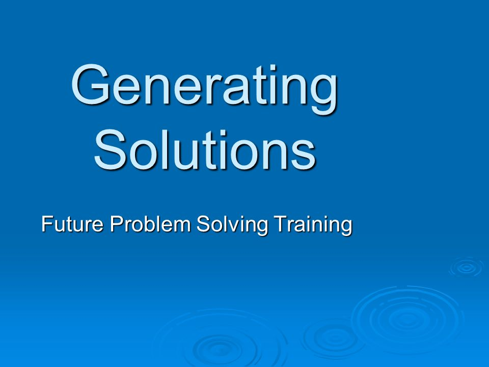 Future Problem Solving Training
