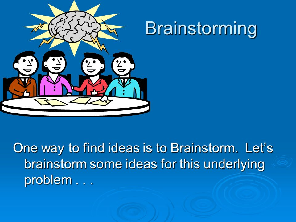 Brainstorming One way to find ideas is to Brainstorm.