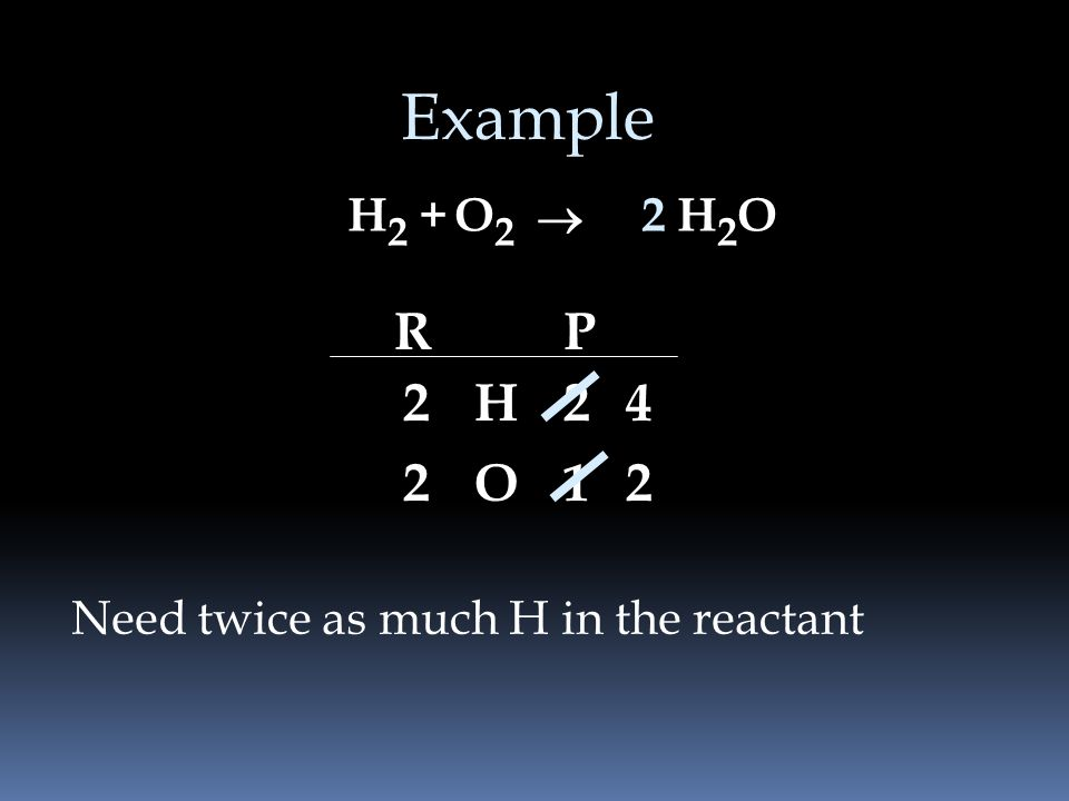 Example H2 + O2 ® 2 H2O R P 2 H O 1 2 Need twice as much H in the reactant
