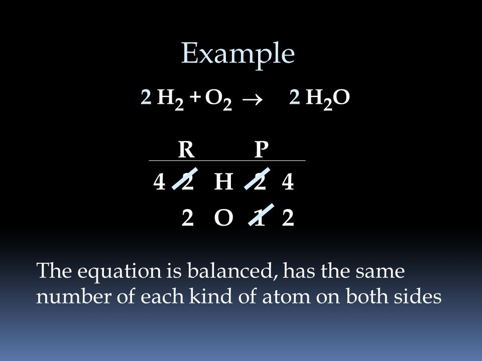 Example 2. H2 + O2. ® 2. H2O. R. P H O The equation is balanced, has the same.