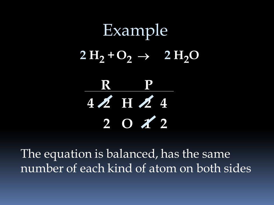 Example 2. H2 + O2. ® 2. H2O. R. P. 4. 2. H. 2. 4. 2. O. 1. 2. The equation is balanced, has the same.