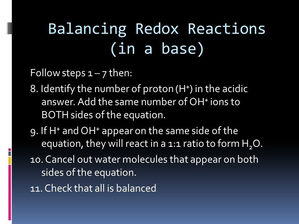 Balancing Redox Reactions (in a base)