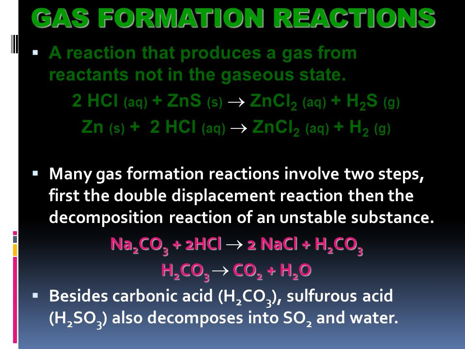 GAS FORMATION REACTIONS