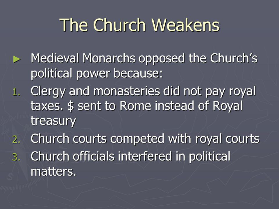 The Church Weakens Medieval Monarchs opposed the Church's political power because: