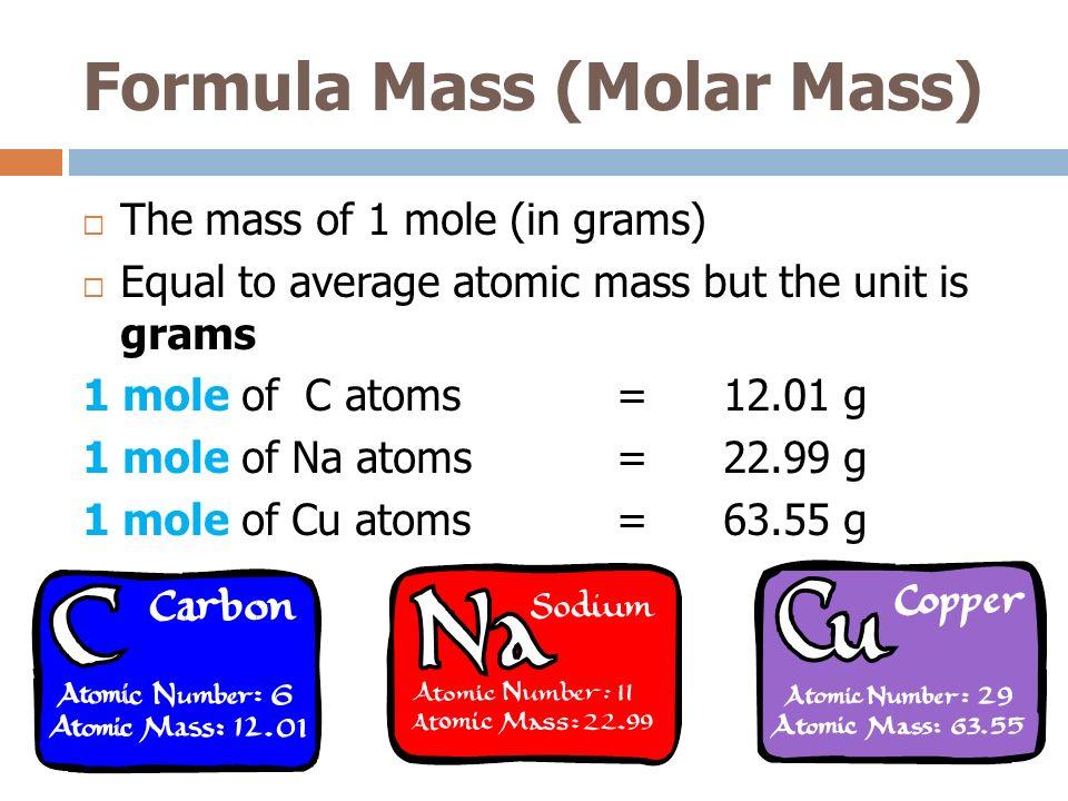 Formula Mass (Molar Mass)