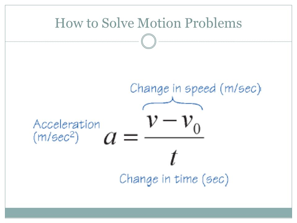 How to Solve Motion Problems