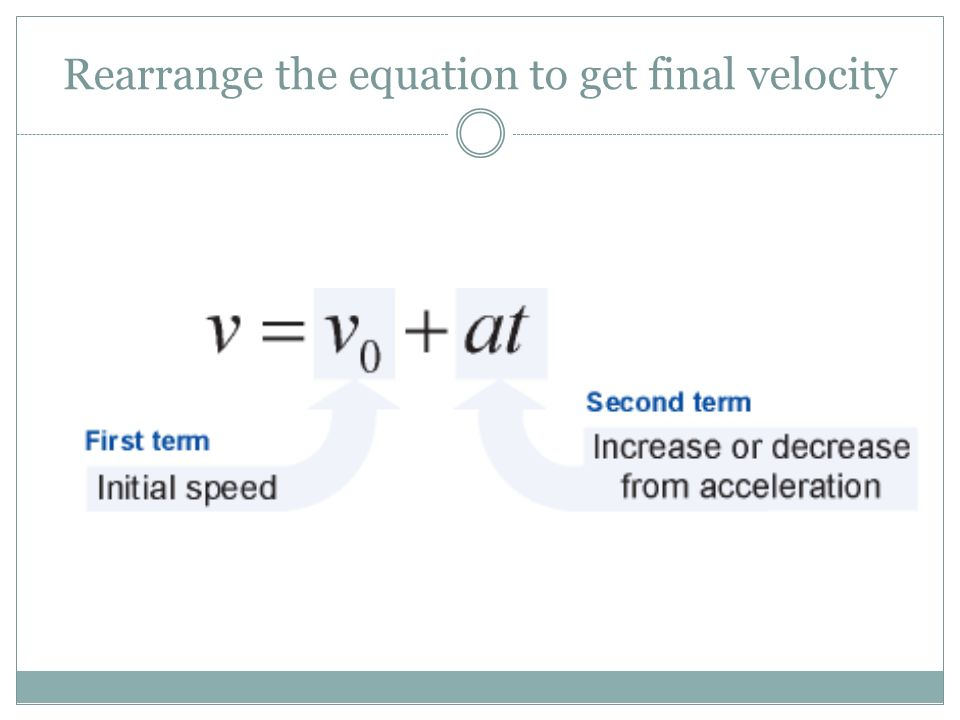 Rearrange the equation to get final velocity