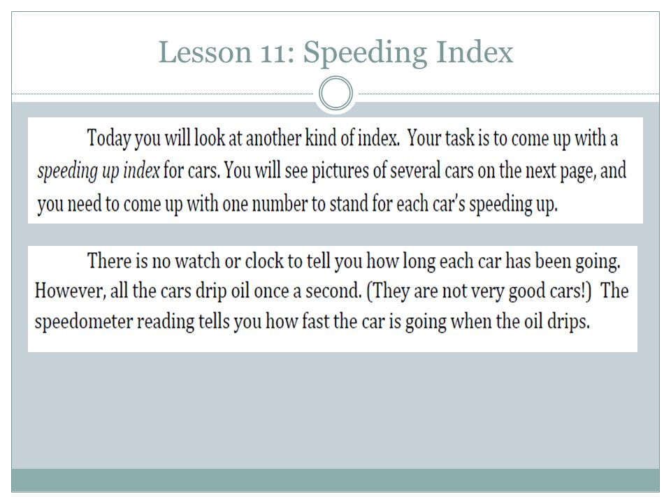 Lesson 11: Speeding Index