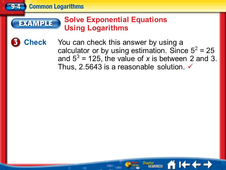 Solve Exponential Equations Using Logarithms