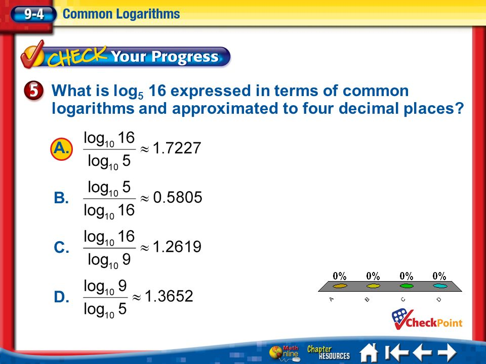 What is log5 16 expressed in terms of common logarithms and approximated to four decimal places
