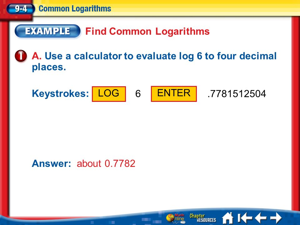 Find Common Logarithms