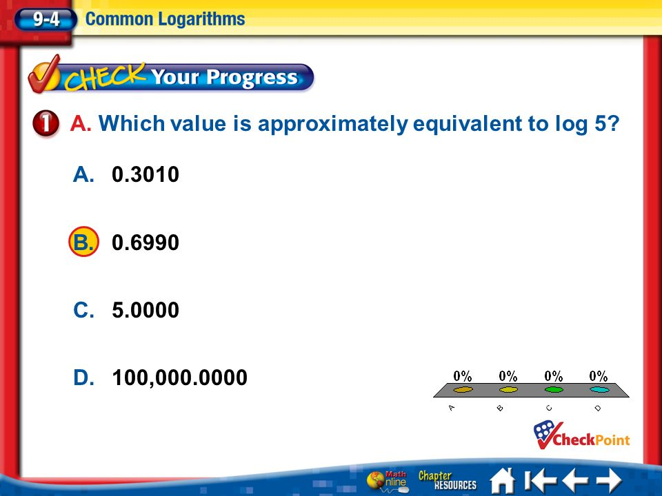 A. Which value is approximately equivalent to log 5