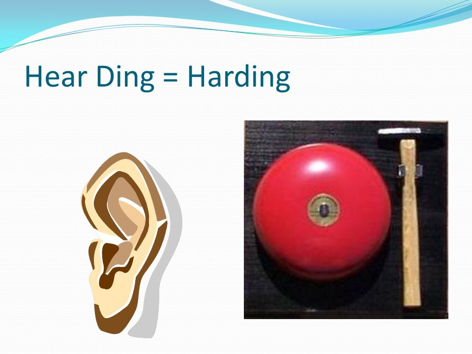 Hear Ding = Harding Kool-aid flows from the bell and fills the Kool-aid guy.