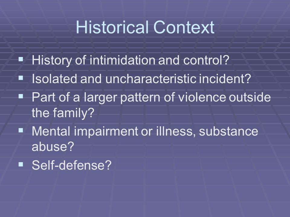 Historical Context History of intimidation and control