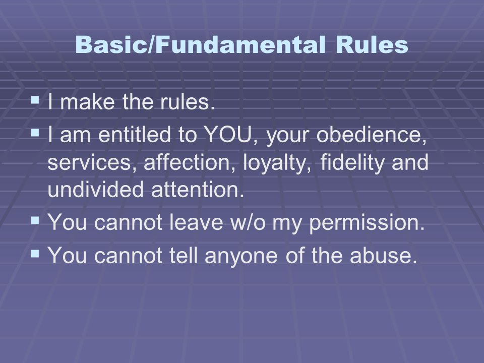 Basic/Fundamental Rules