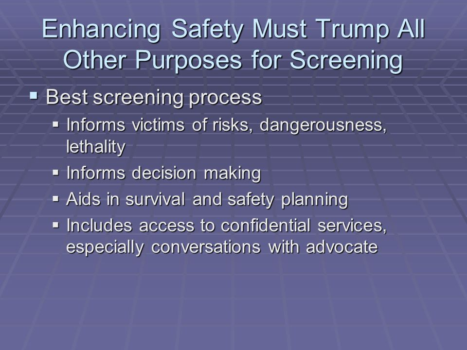 Enhancing Safety Must Trump All Other Purposes for Screening