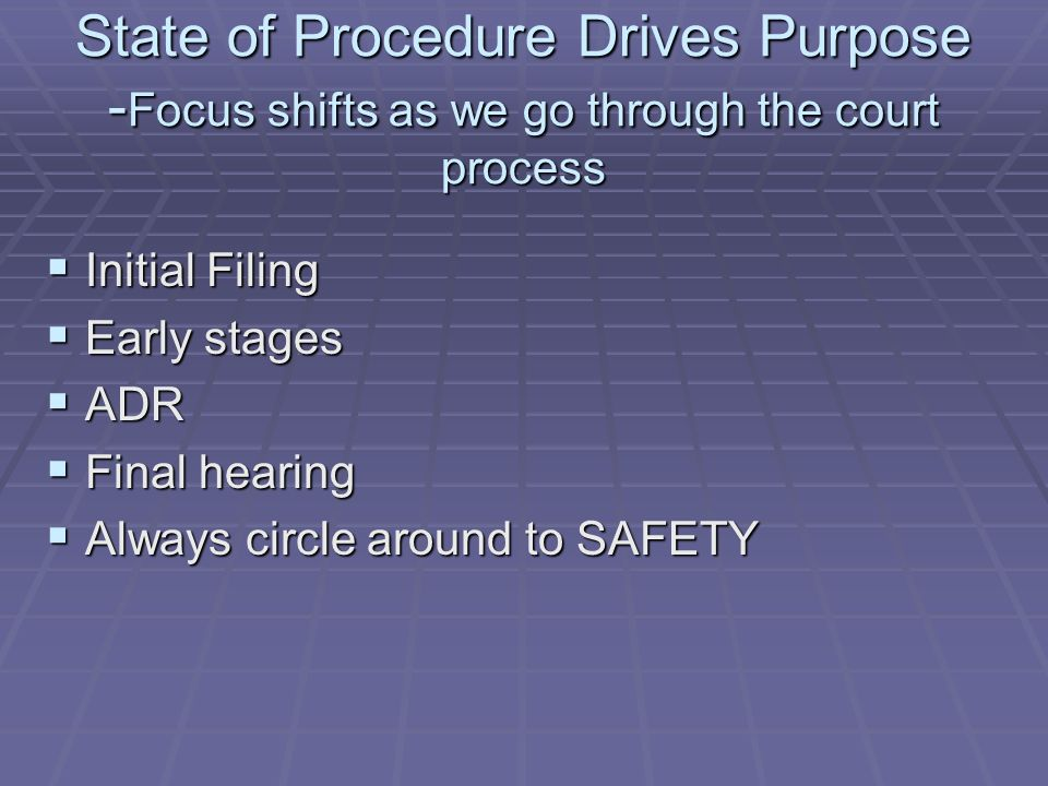 State of Procedure Drives Purpose -Focus shifts as we go through the court process