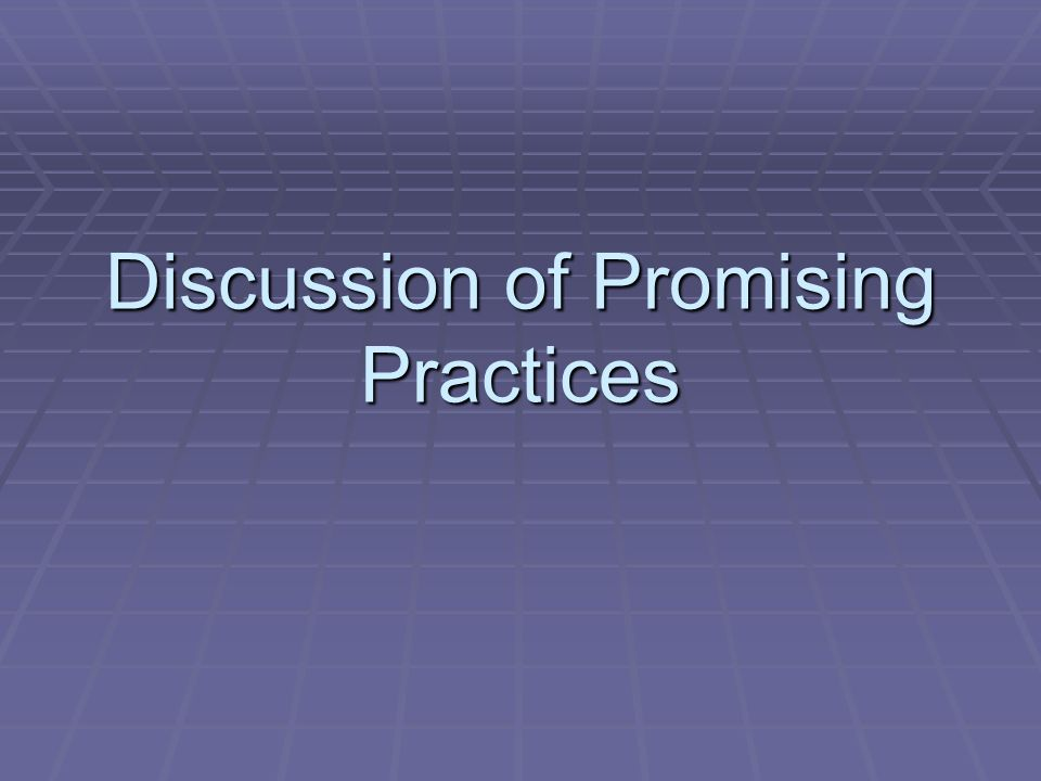 Discussion of Promising Practices