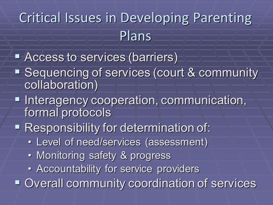 Critical Issues in Developing Parenting Plans