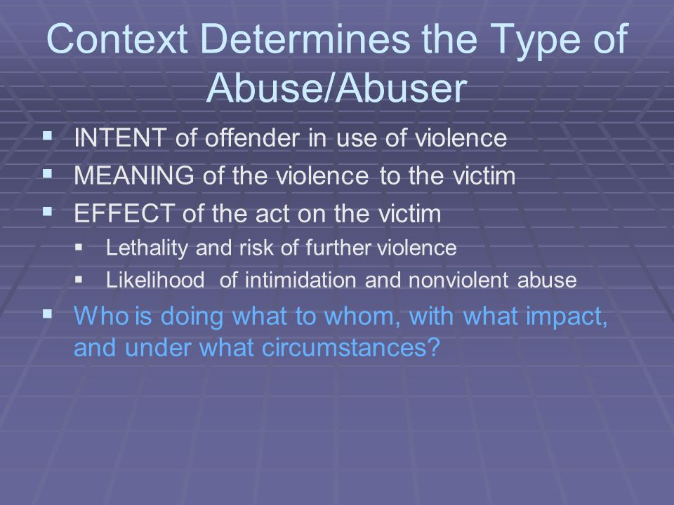 Context Determines the Type of Abuse/Abuser