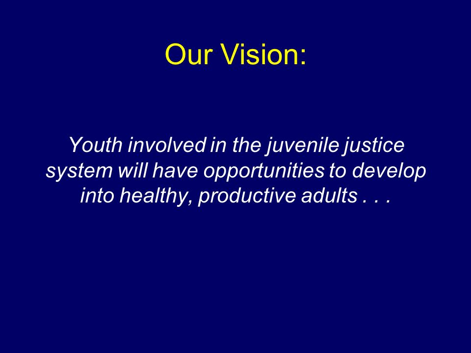 Our Vision: Youth involved in the juvenile justice system will have opportunities to develop into healthy, productive adults . . .