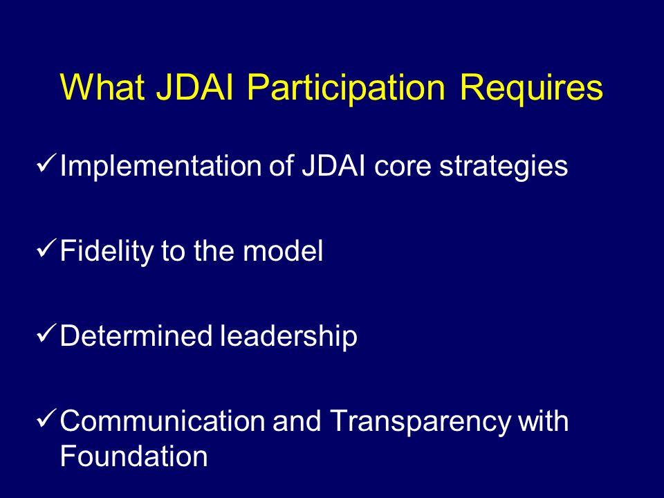 What JDAI Participation Requires