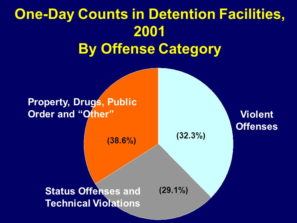 One-Day Counts in Detention Facilities, 2001 By Offense Category