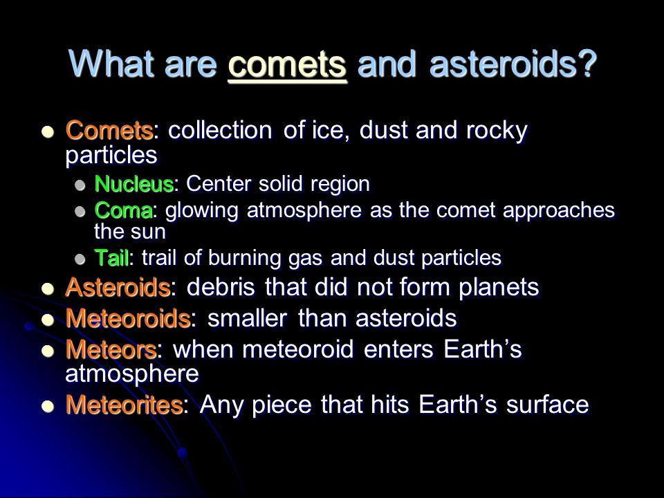 What are comets and asteroids