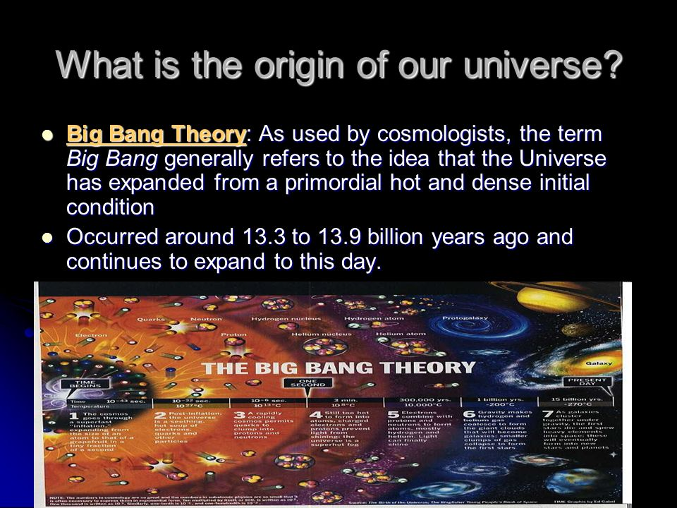What is the origin of our universe