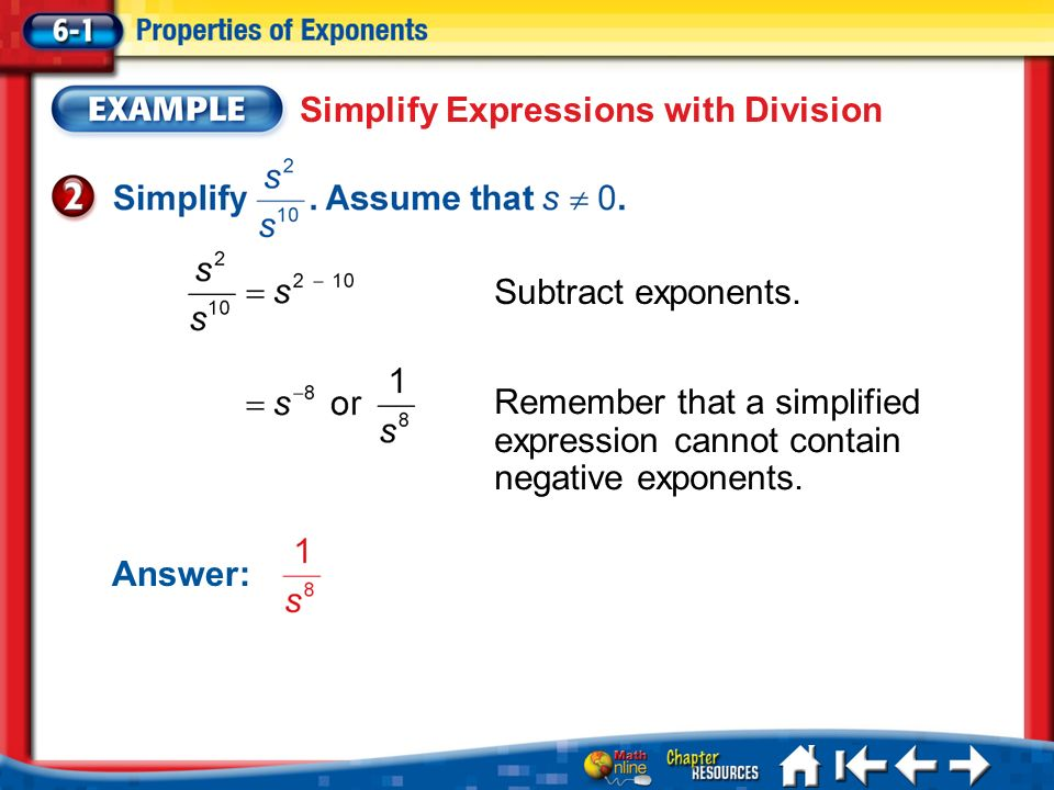 Simplify Expressions with Division