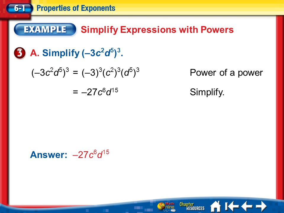 Simplify Expressions with Powers