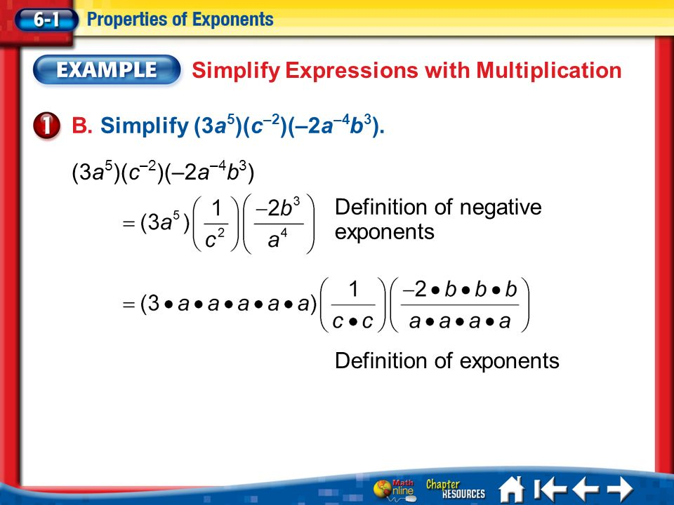 Simplify Expressions with Multiplication