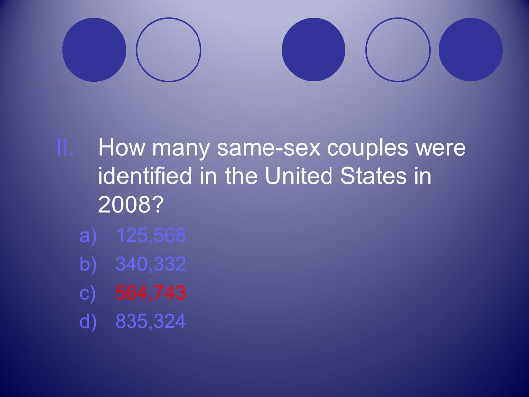 How many same-sex couples were identified in the United States in 2008
