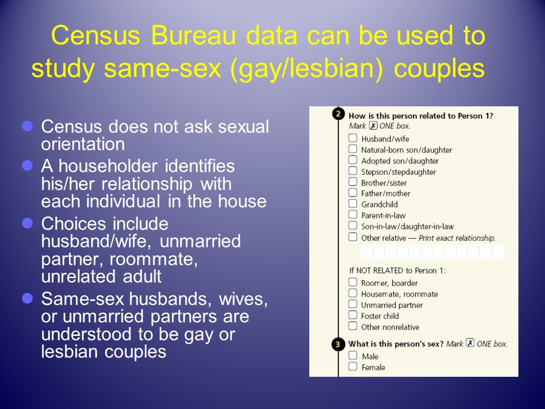 Census Bureau data can be used to study same-sex (gay/lesbian) couples
