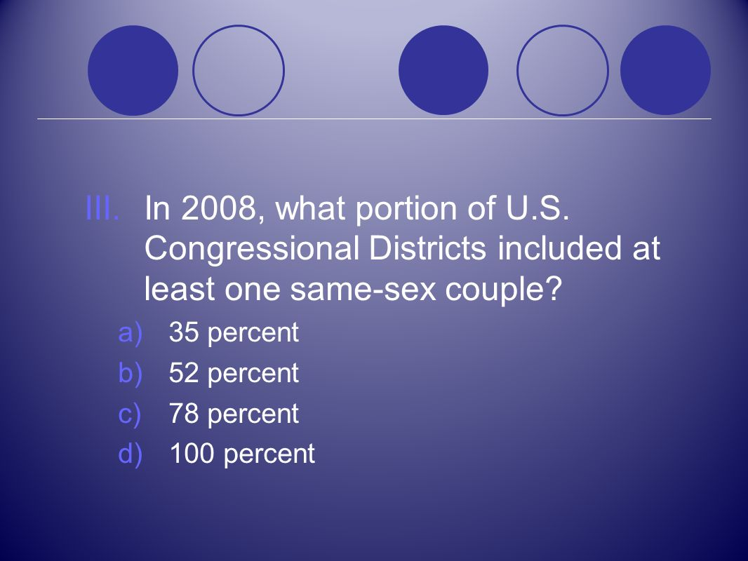 In 2008, what portion of U.S. Congressional Districts included at least one same-sex couple