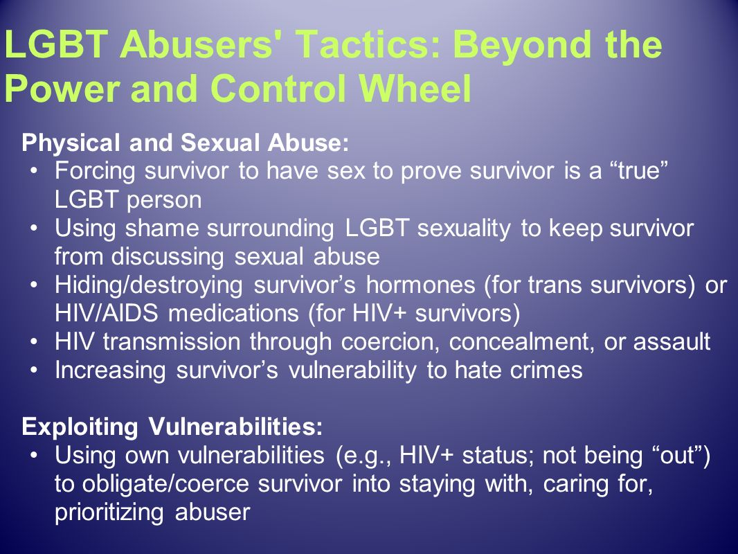 LGBT Abusers Tactics: Beyond the Power and Control Wheel