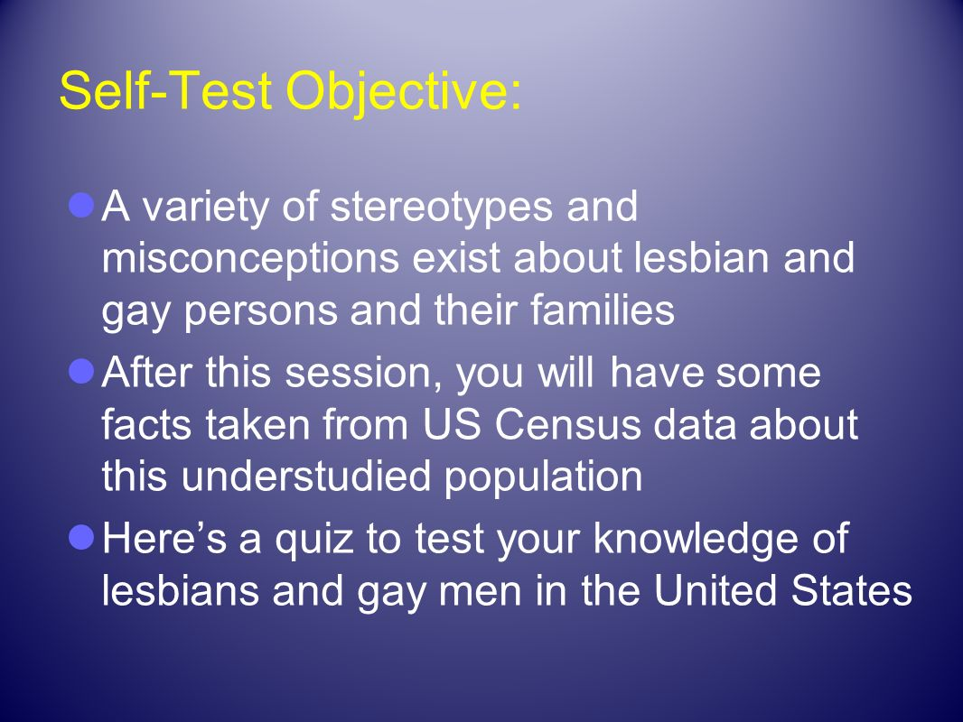 Self-Test Objective: A variety of stereotypes and misconceptions exist about lesbian and gay persons and their families.