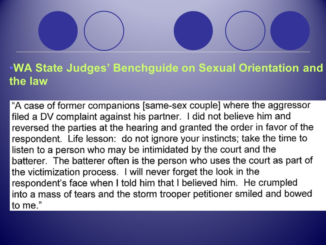 WA State Judges' Benchguide on Sexual Orientation and the law