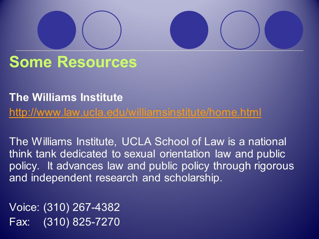 Some Resources The Williams Institute