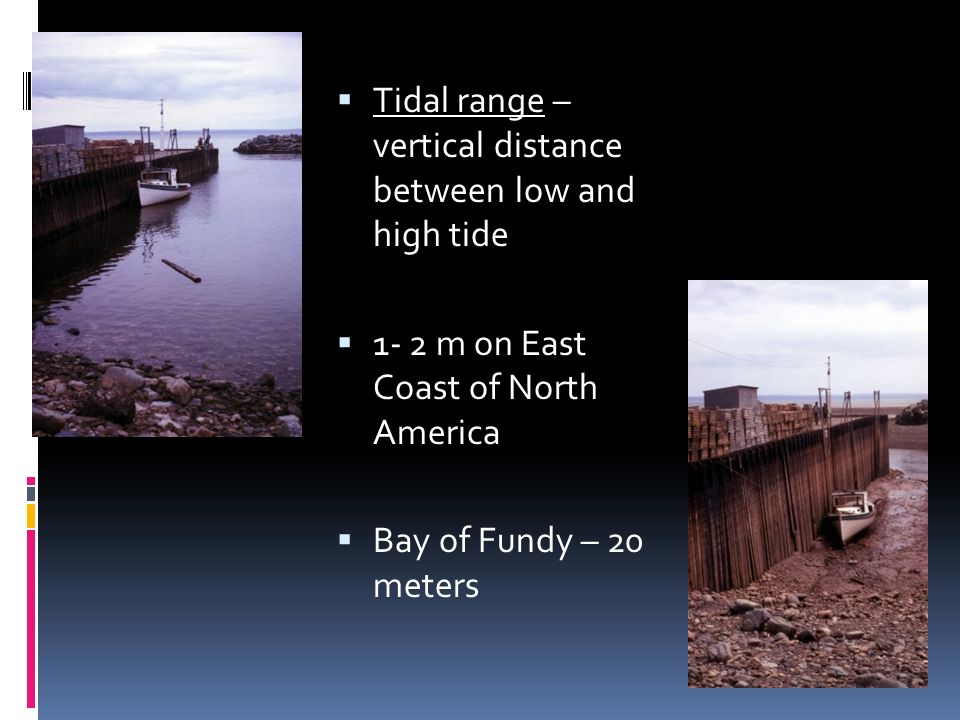 Tidal range – vertical distance between low and high tide