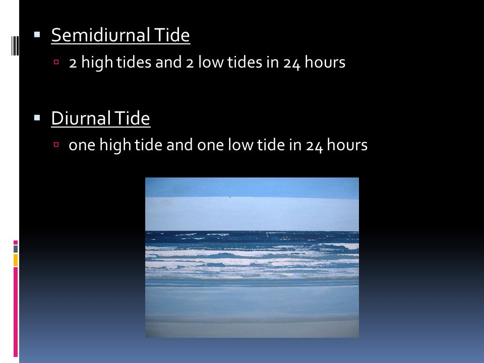 Semidiurnal Tide Diurnal Tide 2 high tides and 2 low tides in 24 hours