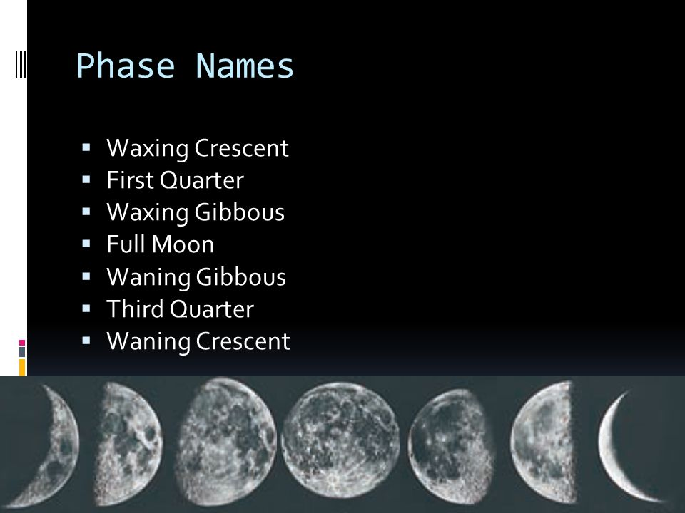 Phase Names Waxing Crescent First Quarter Waxing Gibbous Full Moon