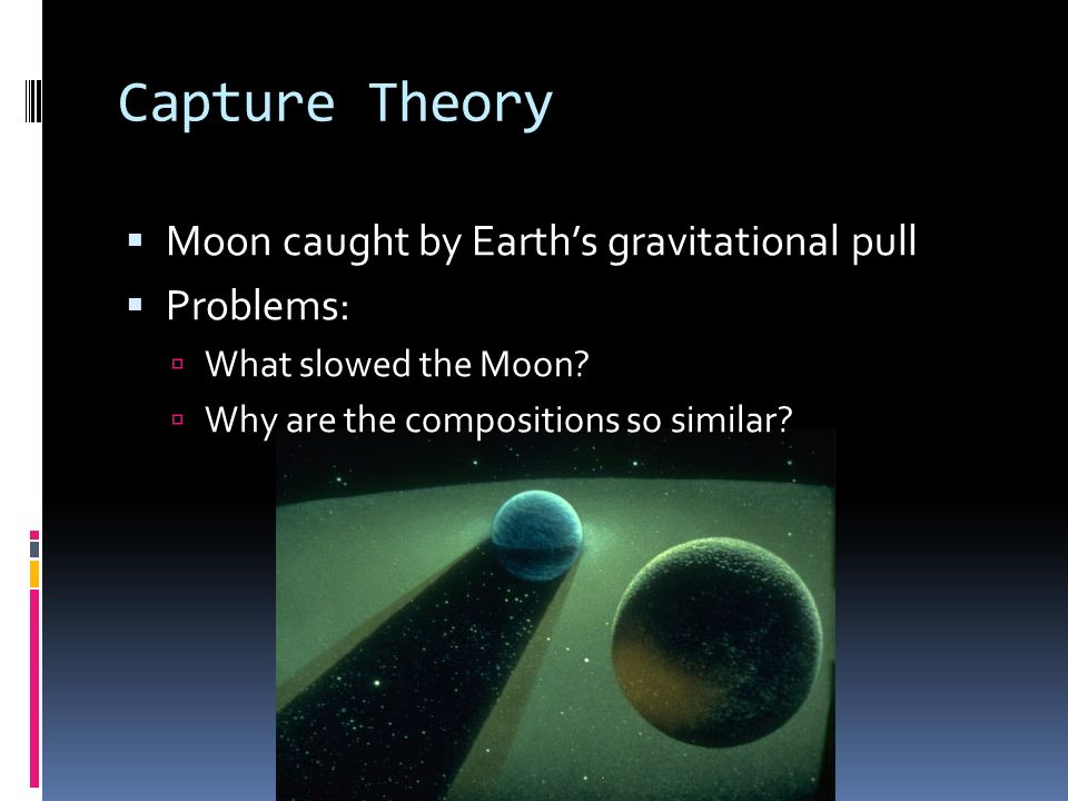 Capture Theory Moon caught by Earth's gravitational pull Problems: