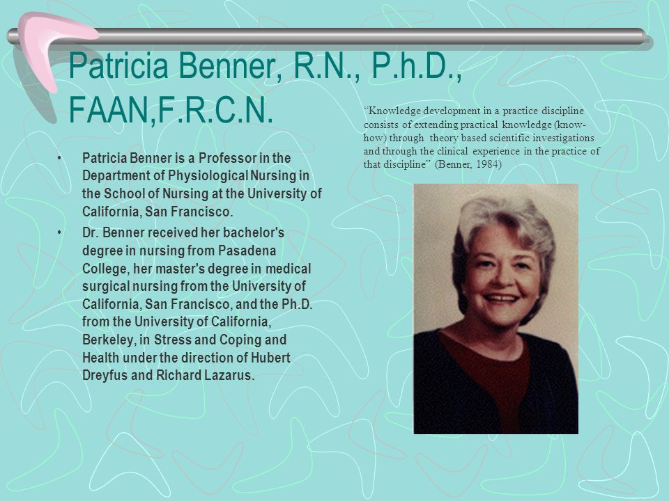 patricia benner and philosophy