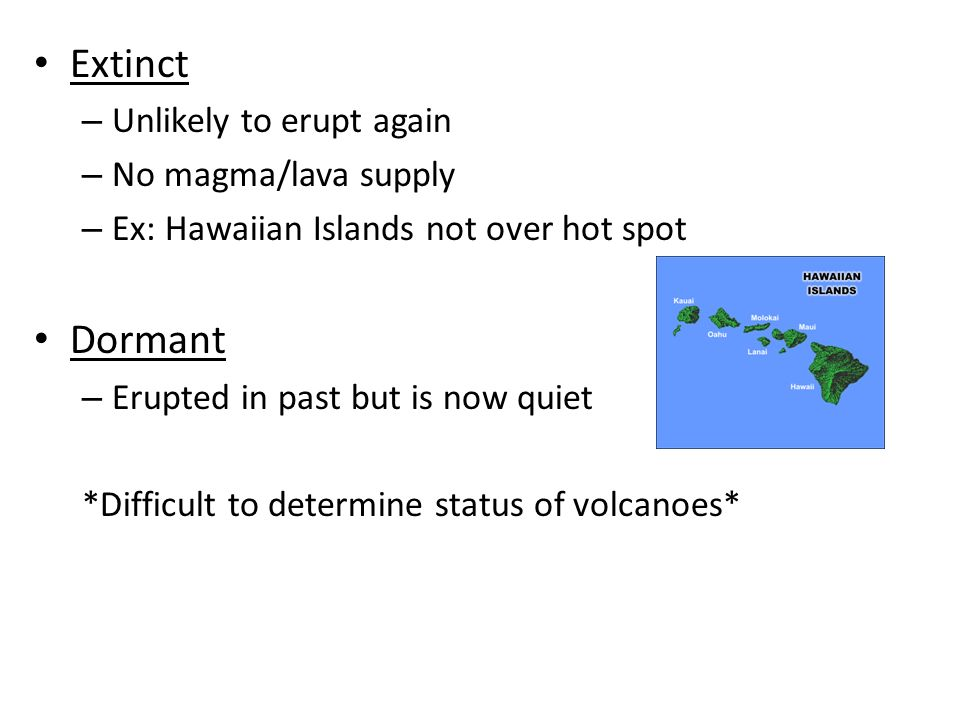 Extinct Dormant Unlikely to erupt again No magma/lava supply