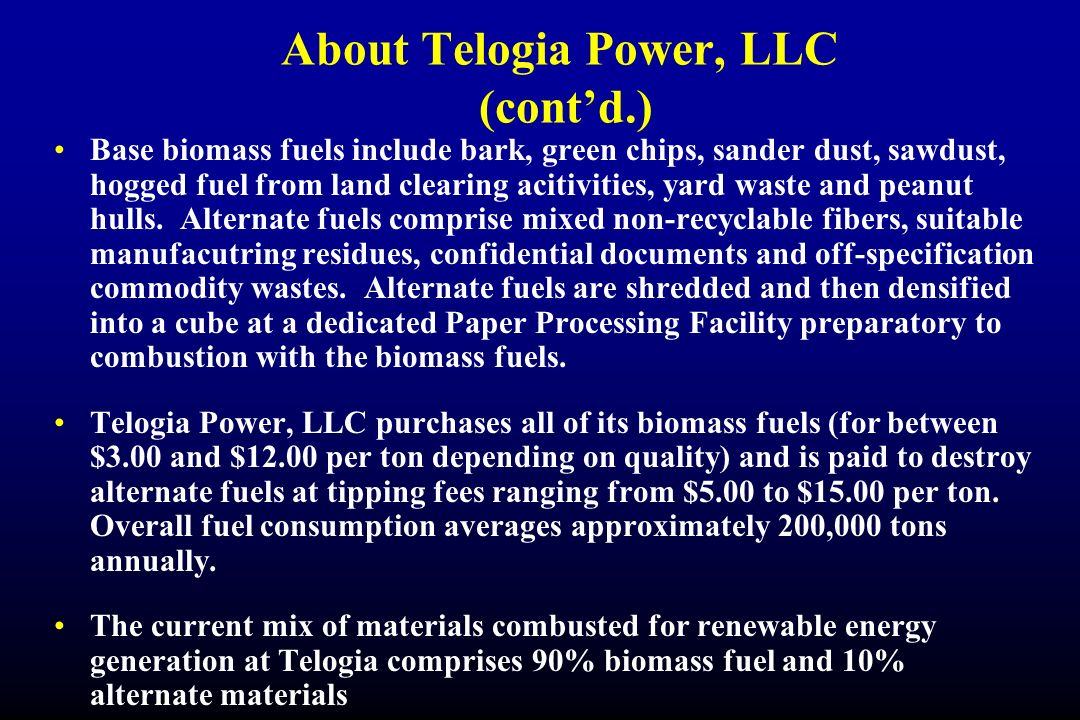 About Telogia Power, LLC (cont'd.)