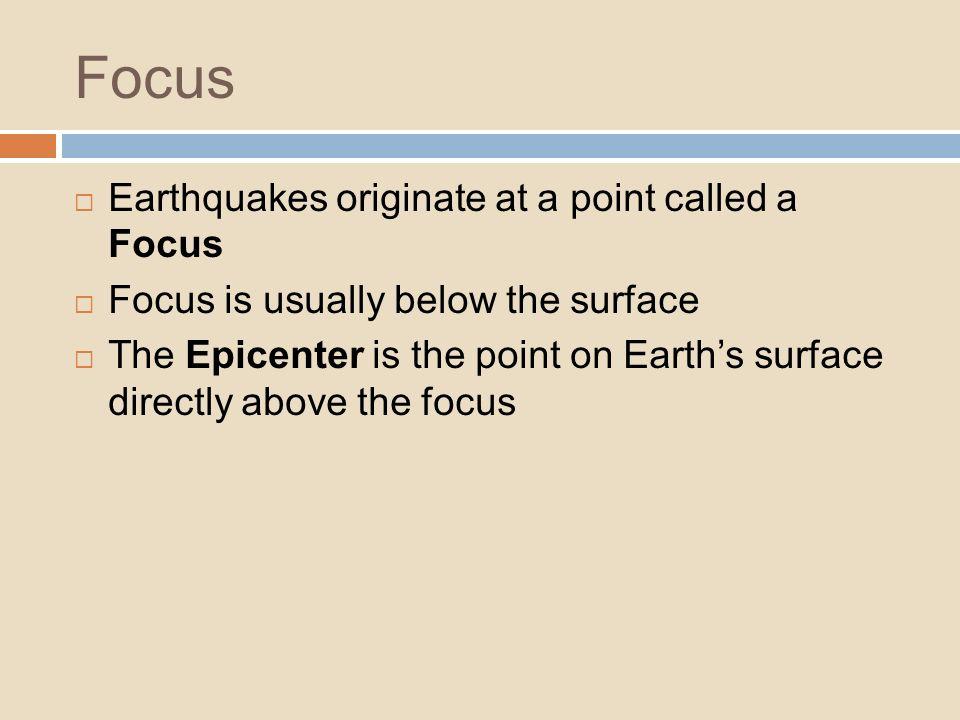 Focus Earthquakes originate at a point called a Focus