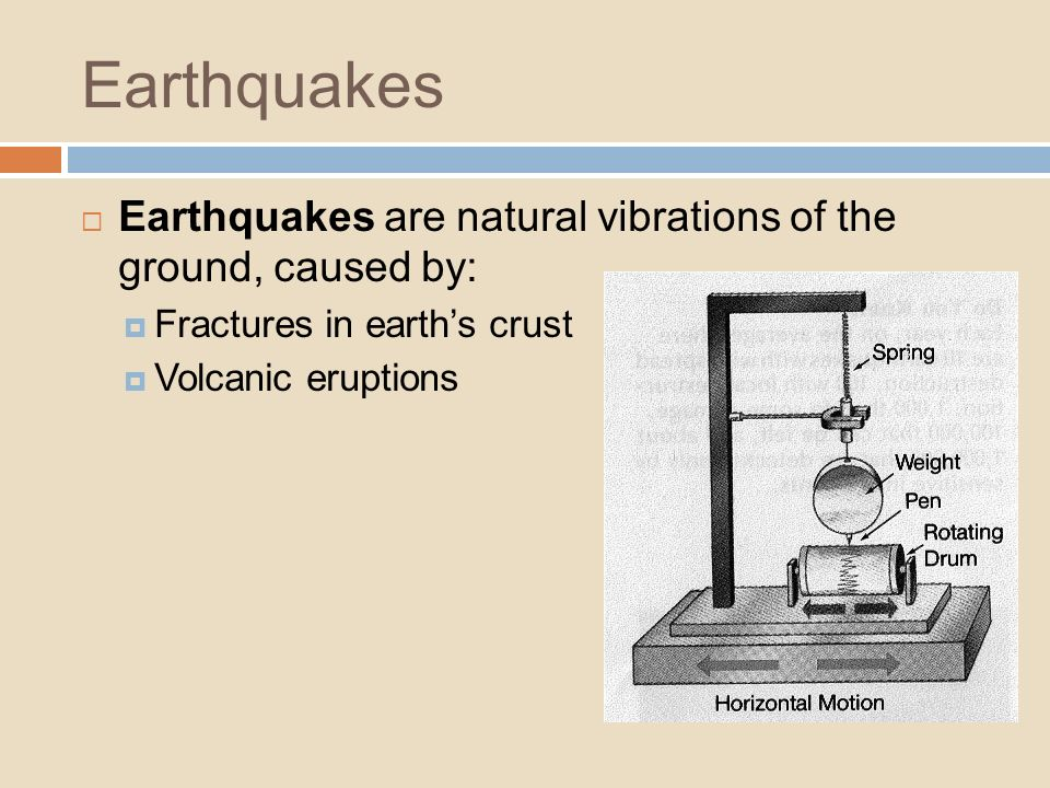 Earthquakes Earthquakes are natural vibrations of the ground, caused by: Fractures in earth's crust.