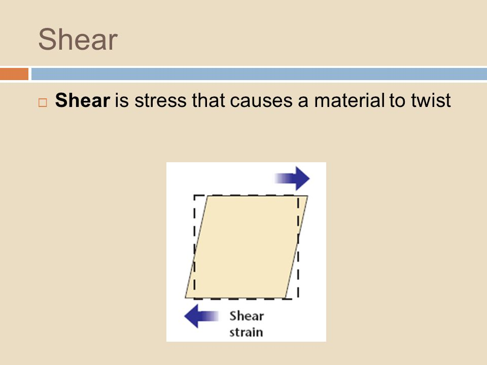 Shear Shear is stress that causes a material to twist